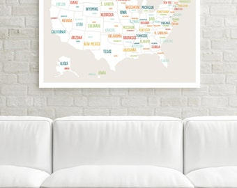 Us Map Poster Etsy - Childrens us pushpin map