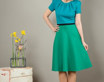 "Dress ""Luzia"", with a round skirt and little falts three different colours"