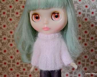 100% Angora long sleeved and roll neck pink jumper sweater for Neo Blythe, pullip, Licca