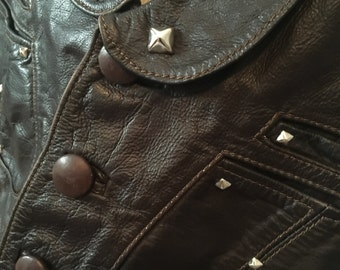 70s Espresso Brown Leather Vest