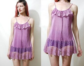 Vintage LACE SLIP Camisole Top Mini Dress Sheer Ruffle Flounce Dusty Pink/Purple Grunge Lingerie Bohemian Boho Fairy Hippie Festival 80s