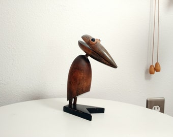 Vintage Wooden Zoo Line-style Crow