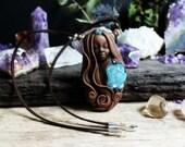 Aqua Aura Quartz Goddess Necklace. Handcrafted Clay & Gemstone Pendant.