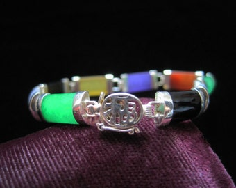 Rainbow Jade Bracelet Vintage Sterling Silver 925 Links Jade Glass Black Green Violet  Red Yellow Chinese Link Chains