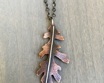 Oak Leaf Necklace Copper - Copper Oak Leaf Necklace - Leaf Necklace Copper - Oak Leaf Jewelry - Leaf Jewelry