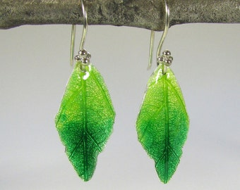 Green Leaf Earrings  - Silver Leaf Earrings Green Enamel