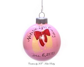 New Baby Ornament First Christmas Glass Bauble MADE TO ORDER Hand Painted