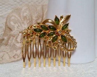 VINTAGE RHINESTONE Bridal Hair Comb Art Nouveau Olive Gold Bride Fall Winter Wedding Navettes Floral Spray Mother of Bride Hair Accesso