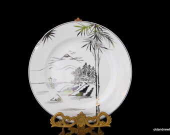 Kutani, Plates, 6 Silver and White Plates, Salad Plates, Handpainted, Made in Japan