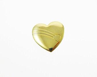 Rainbow Heart Pin - Vintage Gold Heart Brooch