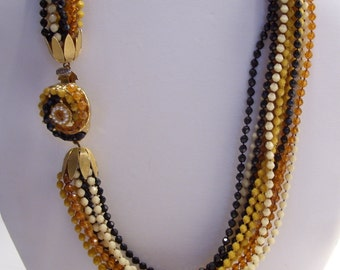 Multi Strand Amber, Beige, Black and Mustard Color Bead Necklace with Stylish Clasp