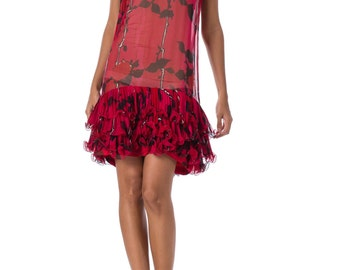 1960s MOD Fuchsia Abstract Floral Print Sheer Sleeveless Mini Dress SIZE: XS, 2