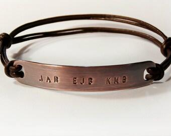 Personalized Copper Bracelet, Men's Bracelet, Leather Bangle, Custom Stamped Initials, Name, Date, Message, Men, Women, Wedding, Anniversary