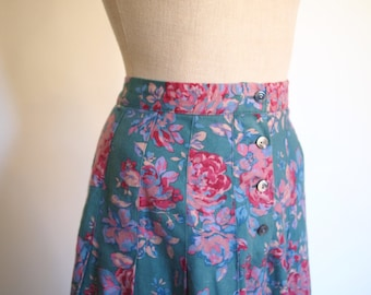 vintage 80s turquoise & pinks floral print pleated calf length skirt