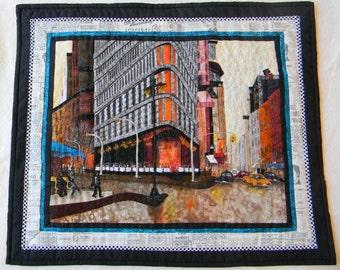 Flatiron Building-NYC, Fiber Art Quilt, City Landscape
