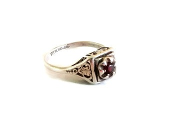 Art Deco Engagement Ring, Garnet and Sterling Silver, Signed Size 5.75 Vintage Promise Ring, December Birthstone