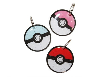 Create a Custom Pokemon Pokeball Pet ID Tag - Customizable - 3 Tag Sizes in Metal or Resin - Personalized Back w/ Pet Info - For Cat or Dog