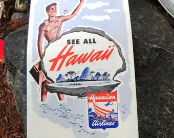 Vintage Hawaiian Airlines Map Routes - 1951 - from DustyMillerAntiques