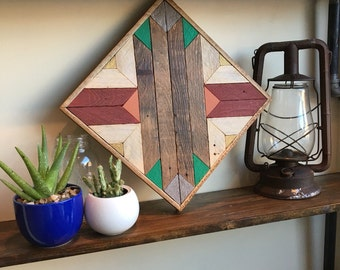 "Reclaimed Lath Wall Art 13""x 13"""