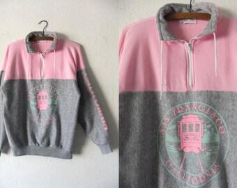 San Francisco Cable Car Vintage Sweatshirt - Pastel Pink Color Block Perfect Heather Grey Soft Half Zip Souvenir Sweatshirt - Womens Large