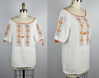 Embroidered Peasant Blouse Hand Embroidery Blouse Cross Stitches Blouse Boho Gypsy Peasant Summer Festical Beach size S - M