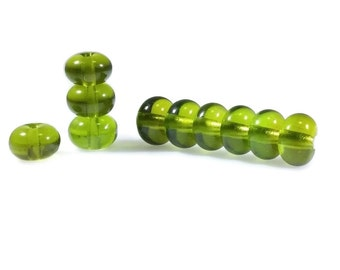 Grass Green Glass Lampwork Spacer Beads, 6x9mm Lampwork Beads, Leaf Green Beads, Forest Green Spacer Lampwork Beads, Transparent Spacers
