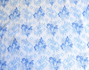vintage french floral fabric patchwork fabric quilting fabric antique fabric blue roses fabric cotton fabric 190