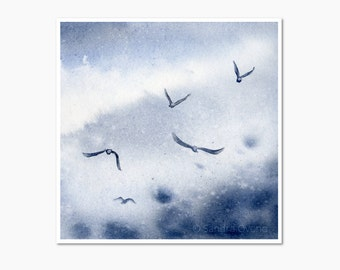 """Birds Flying in a Winter Sky Watercolor Painting. Indigo blue and white wall art. Nature home decor. From 4x4"""" to 8x8"""" square giclee print"""