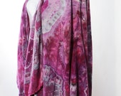 Waterfall Jacket, Large/Xlarge Ice Dyed Tie Dyed     Agate Design, Purples,  Rayon,   Asymmetric, READY TO SHIP