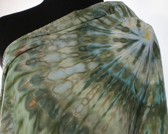 """Ice Dyed Tie Dyed Rayon Circular  Infinity Scarf, Shades Of Green And Gold, Spiral Design, 77"""" around by 21"""" wide, Made To Order"""