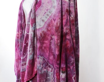 Waterfall Jacket, Ice Dyed Tie Dyed     Agate Design, Purples,  Rayon,   Asymmetric, MADE TO ORDER