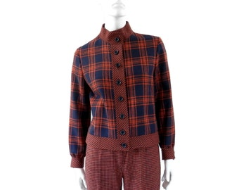 Mod Plaid Jacket and Pant Suit by Mark Hober Orange and Navy Hounds-tooth Wool
