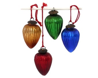 Set of 4 Jewel Tone Drops Ribbed Glass Kugel Style Christmas Ornaments