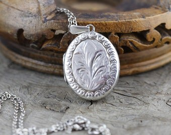 Sterling Silver Oval Etched Leaf Locket Pendant on Silver Chain