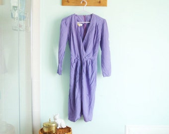 Vintage purple party dress - medium knee dress