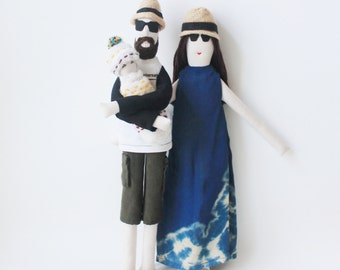 Portrait family dolls, likeness fabric dolls, personalized dolls from picture, unique wedding anniversary gift