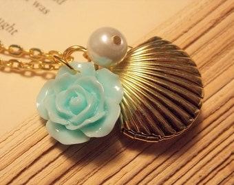 Gold and Turquoise Seashell Locket