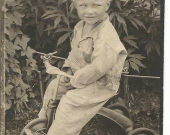 Antique 1920's Photograph of Little Boy on Tricycle Bike Black and White