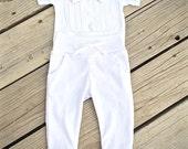 baby boy blessing/christening outfit, white baby tuxedo, baby blessing bodysuit, baby christening bodysuit, leggings, polka dot print onesie