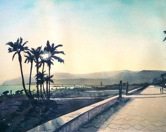 """Original Watercolor Landscape Cityscape """"Promenade in Almeria"""" Aquarelle Painting, Nature Art"""