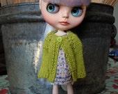 Blythe Doll Knitted Alpaca Cardigan - Apple Green