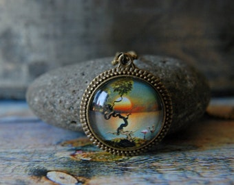 "1"" Square  Glass Pendant Necklace or Key Chain - Gnarled Tree at Sunset"