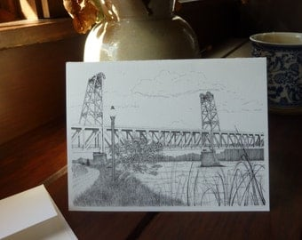 Yankton Meridian Bridge Note Cards, Set of 10 (Pen and Ink)