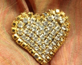 Vintage Rhinestone Heart Brooch Pin