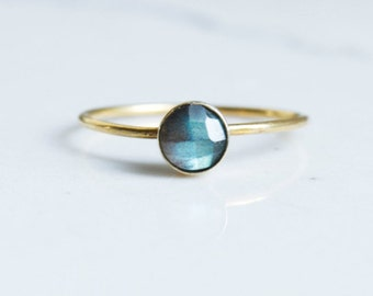 Round Faceted Labradorite Gold Filled Stacking Ring - 4mm