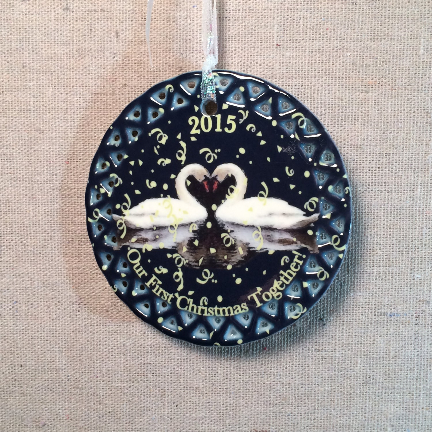 Newlywed Ornament Our First Christmas by MagnaCartaDigitalArt