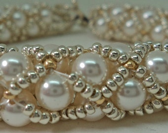 White Swarovski Pearl Tube Netting Bracelet