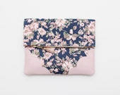 BLOSSOM 3 / Floral fabric & Natural leather folded clutch bag with leather tassel - Ready to Ship