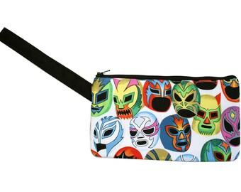 Luchador masks, Mexican wrestler, Lucha Libre, wristlet, flat bag, small bag
