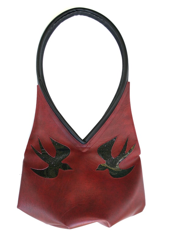 sparrows, dark red, glitter vinyl, black, tear drop, vegan leather, shoulder bag